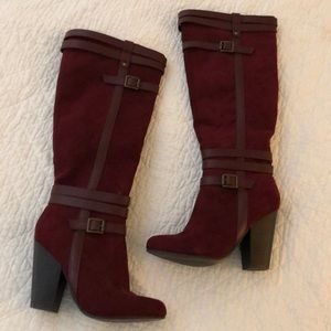 Burgundy faux suede tall boots